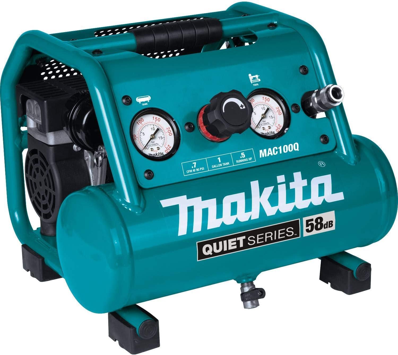 Makita MAC100Q Quiet Series, 1/2 HP, 1 Gallon Compact, Oil-Free, Electric Air Compressor