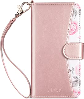 ULAK Wallet Card Holder Floral Case for iPhone Xs 5.8 Inch 2018, iPhone X 2017, Premium Synthetic Leather Folio Handmade Wrist-Strap Case Kickstand Cover,Rose Gold Flower