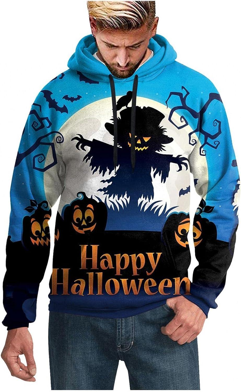 XUNFUN Men's Novelty Hoodies Plus Size Halloween Pumpkin 3D Digital Print Casual Baggy Pullover Hooded Sweatshirts Outwear