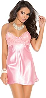 Elegant Moments Women's Charmeuse Babydoll with Lace Bodice Underwire Cups