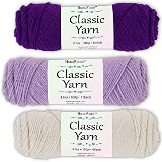 Soft Acrylic Yarn 3-Pack, 3.5oz / Ball, Deep Purple + Light Lavender + Eggshell White. Great Value for Knitting, Crochet, Needlework, Arts & Crafts Projects, Gift Set for Beginners and pros Alike