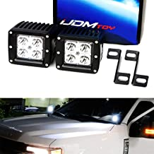 iJDMTOY A-Pillar LED Pod Light Kit For 2015-up Ford F150, 2017-up F250 F350, Includes (2) 20W Cube High Power CREE LED Cubes, Windshield A-Pillar Mounting Brackets & On/Off Switch Wiring Kit