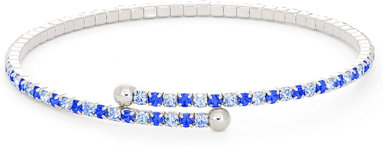 Bangle Bracelet | Light and Dark Sapphire Austrian Crystals | Rhodium Plated
