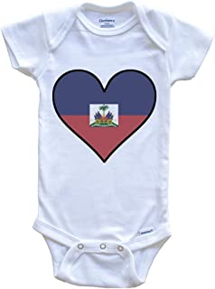 Really Awesome Shirts Haitian Flag Onesie - Cute Haitian Flag Heart - Haiti Baby Bodysuit