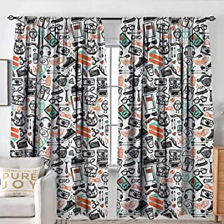 Sillgt Indie Bedroom Curtains Hipster Fashion Themed Pattern Clothing Accessories and Symbols Sketchy Art Blackout Draperies for Bedroom W 96