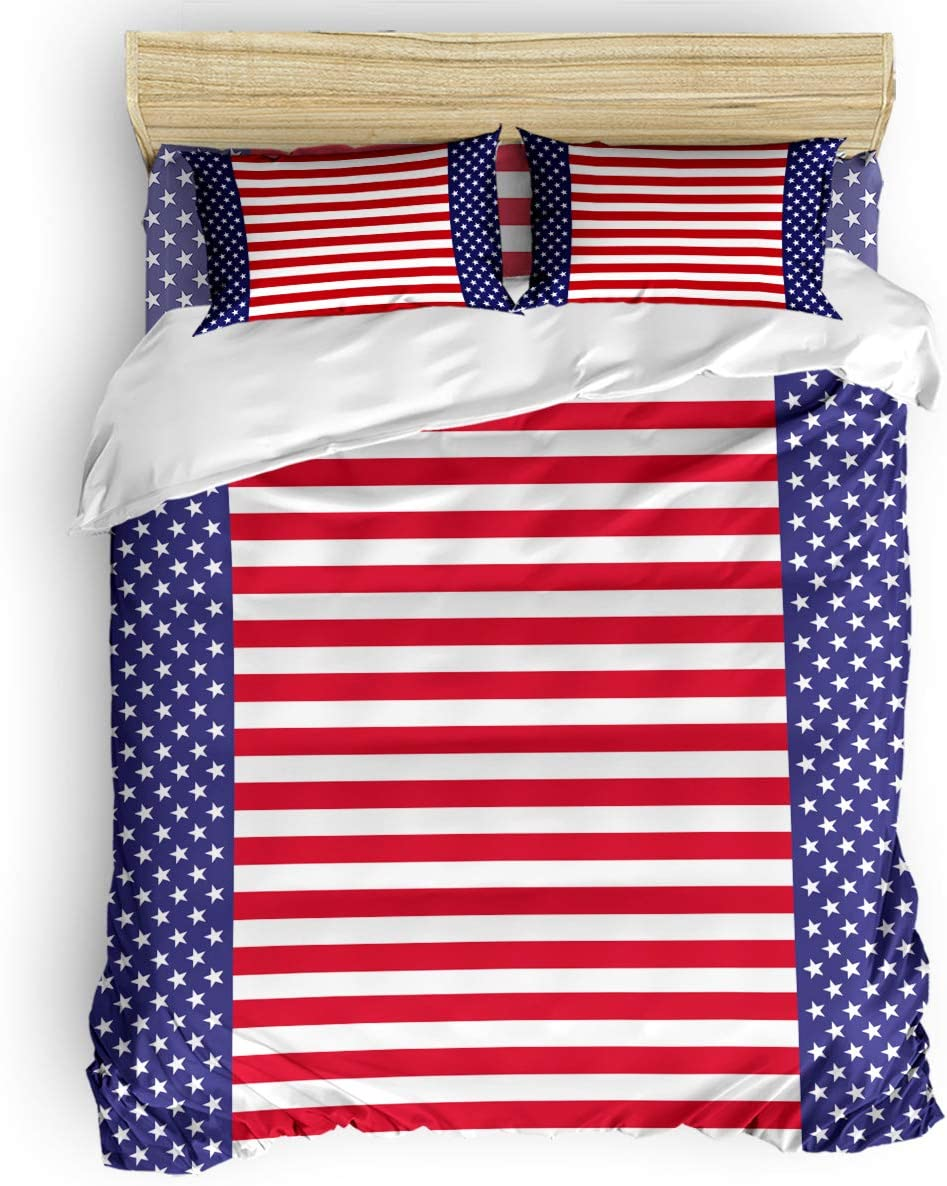 Luxury 4 Piece Bedding Set California King American Flag Red Stripes Duvet Comforter Quilt Cover Set With Bed Sheet Pillow Shams For Kids Teens Adults School Stars Home Kitchen