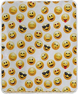 CHASOEA Throw Blanket,Smiley Face Character Illustration Feeling Happy Surprised Cool and Love,Microfiber All Season Bed Couch,60