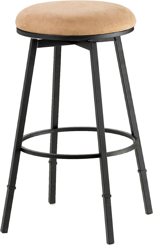 Hillsdale 4149-831 Sanders Adjustable Backless Bar Stool, Black Brown