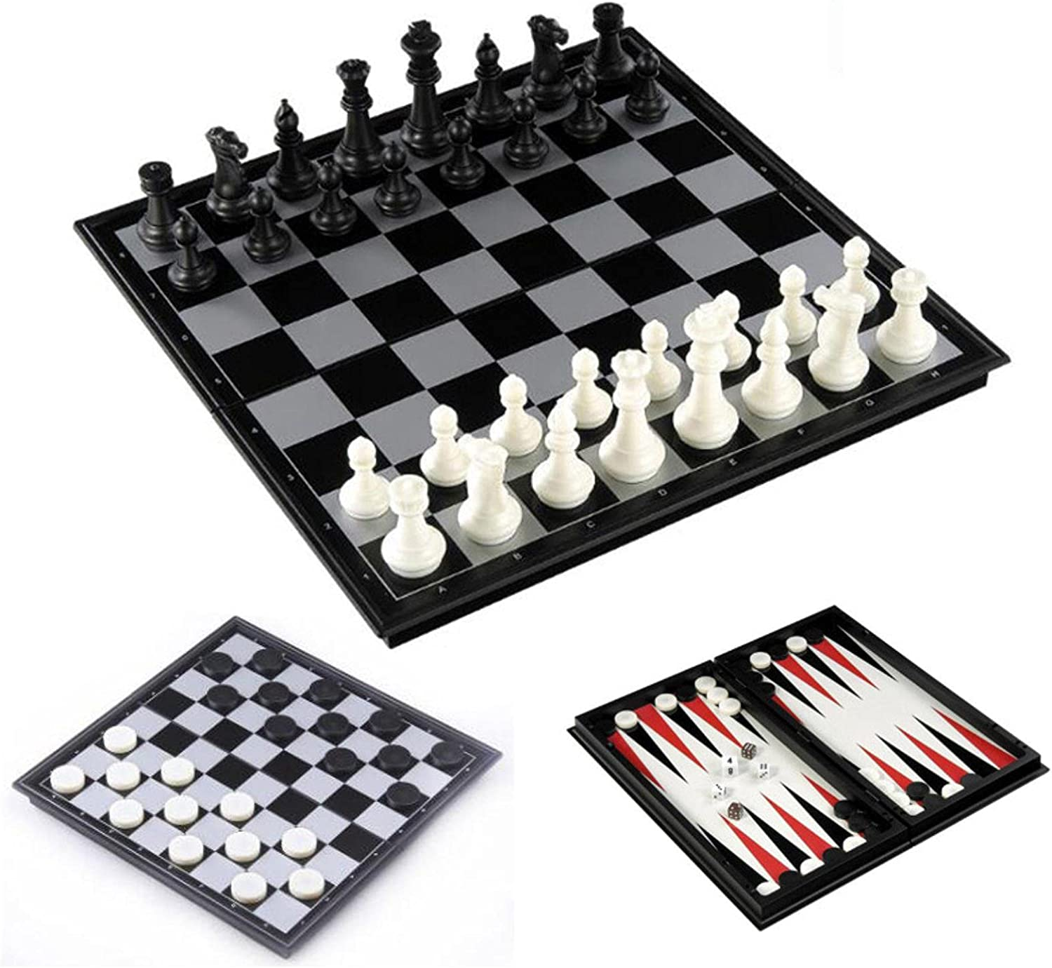 3-in-1 Houston Mall Travel Magnetic Chess Checkers Backgammon Gam Board Elegant and