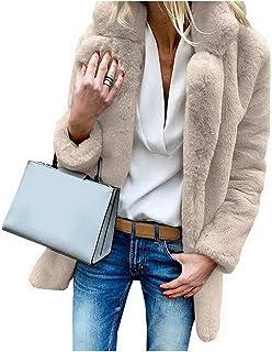 Who-care 2020 Abrigo de piel sintética cálido y suave abrigos de felpa de bolsillo chaqueta casual callejera sólido abrigo