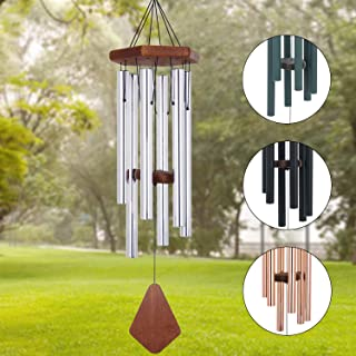 Amazing Grace Wind Chimes Outdoor Large Deep Tone, 30 Memorial Wind Chime Outdoor, Wedding Wind-Chime Personalized with 6 Tuned Tubes, Elegant Chime for Garden, Patio, Balcony and Home, Silver