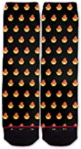 Function - Fire Flame Lit AF Blaze Heat Emoji Emoticon Pattern Black Fashion Socks Dope
