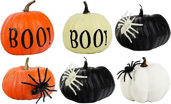 Set Of 6 Halloween Decorative Pumpkins 4 25 Pumpkins Perfect For Halloween Parties Decor And More 6