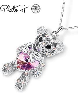 Gift Packaging Teddy Bear Necklace with Swarovski Heart Crystal, Love Heart Bear Pendant Necklace, Women Bear Jewelry, Birthday Graduation Gifts