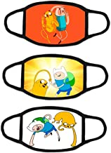 3Pcs Adventure Time Boys and Girls Fashion Face Mask Reusable Kids Cartoon Face Bandanas