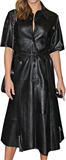 Royale Leather Bodycon Casual Celebrity Cowhide Real Leather Mini Sexy Party and Club Women Dress