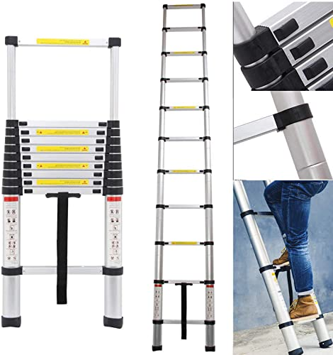 new arrival 10.5Ft Telescoping Ladder Aluminum 11 outlet sale Steps with Safety Locking Latches 330lb Max discount Load Capacity, EN131 Certificated online sale