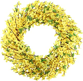 GTIDEA 18 inches Artificial Forsythia Flower Front Door Wreath Spring/Summer Fake Flower Granland with Dried Grape Vine Base Farmhouse Decor for Home Garden Office Wall Wedding