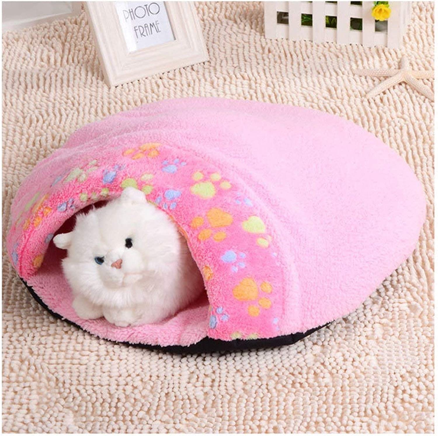 YQSMYSW Cat Cave Beds Kitty Bed Mats Paw Print 2 in 1 Indoor Pets Bed (L 60  50  16 cm, Pink) for Cat Dog