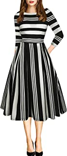 97c668fe oxiuly Women's Vintage Patchwork Pockets Puffy Swing Casual Party Dress  OX165