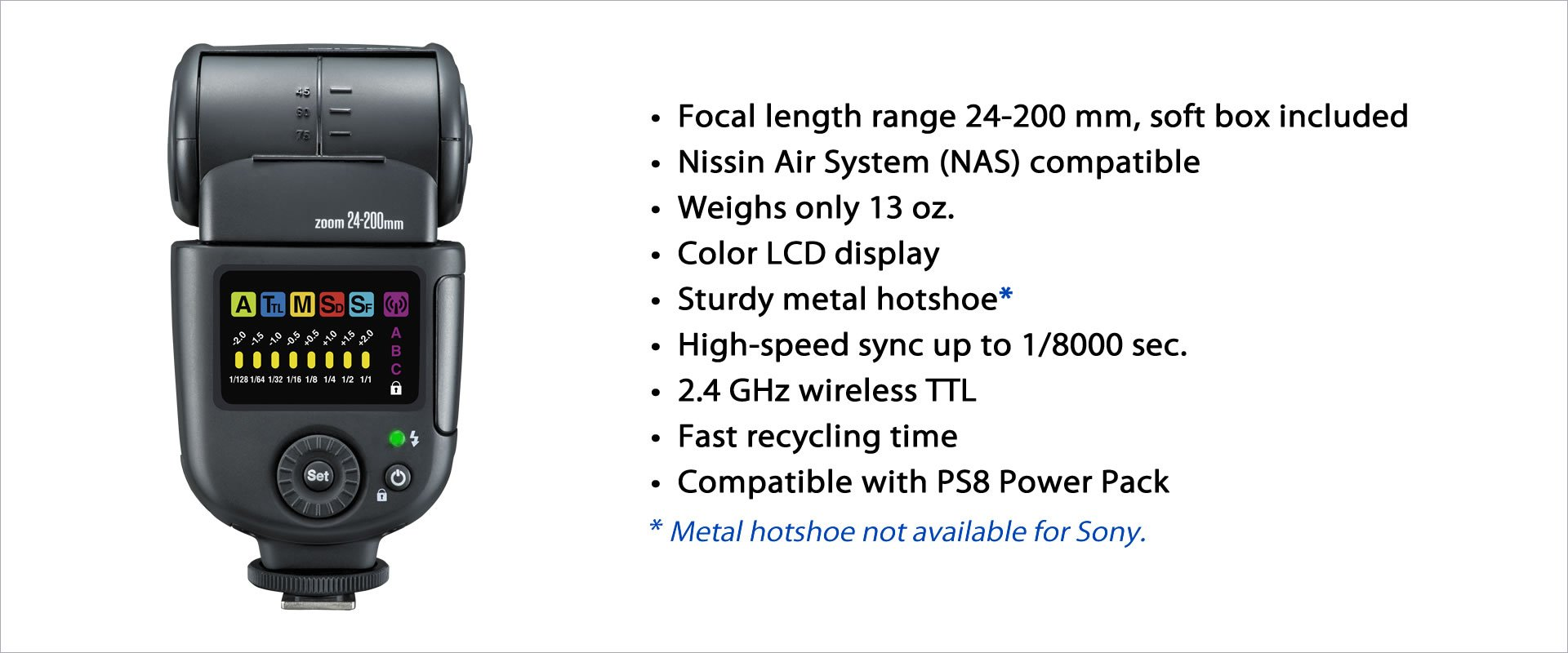 Nissin nd700 a-s Speedlite aire para Sony (negro): NISSIN: Amazon.es: Electrónica