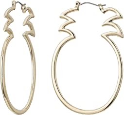 Gold Tone Open Pineapple Hoop Earrings