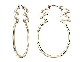 Gold Tone Open Pineapple Hoop Earrings