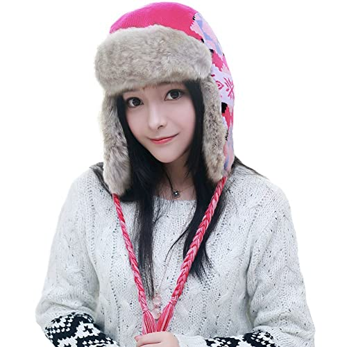 da4324fa958 SIGGI Ladies Earflap Trapper Hat Faux Fur Hunting Hat Fleece Lined Thick  Knitted