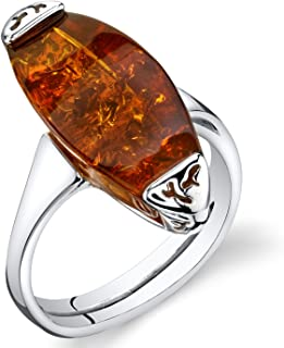 Baltic Amber Gallery Ring Sterling Silver Cognac Color Sizes 5-9