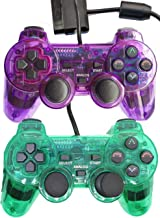 Wired Controller for PS2 Playstation 2 Dual Shock(Pack of 2,ClearPurple and ClearGreen)