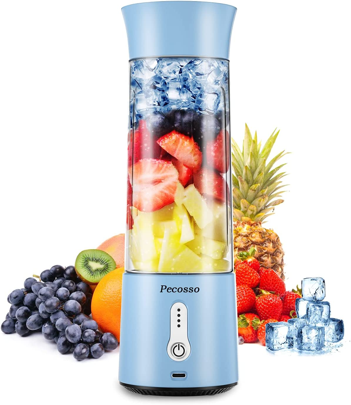 Pecosso Portable Blender,17 Oz Personal Size Blender,Type-C 4000mAh Rechargeable Blender with 500ml Bottle,IPX7 Waterproof Blender for Shakes and Smoothies