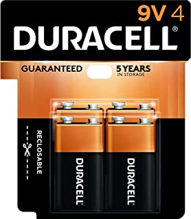Duracell CopperTop 9V Alkaline Batteries | Long Lasting, All-Purpose 9 Volt Battery | 4 Count