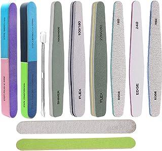 11 Pcs Nail Files Set for Nature Acrylic Nail Professional Multifunctional 2 7-Way Fingernail and Buffer Shine Block Emery...