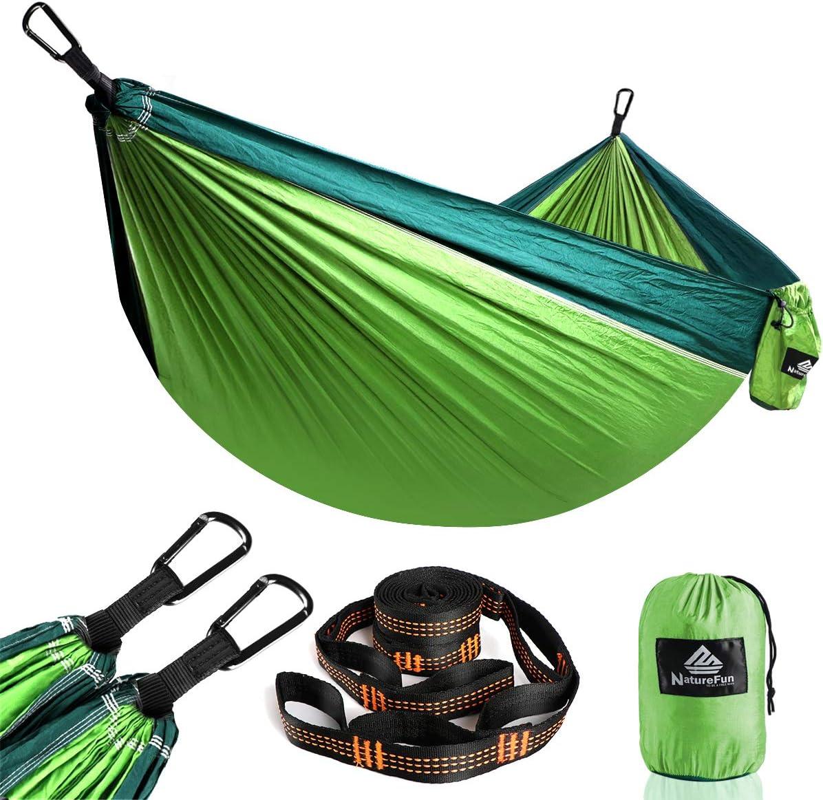 NatureFun Ultraleichte Reise Camping Hängematte   300kg Tragkraft, (275 x 140 cm) Atmungsaktiv, Schnelltrocknendes Fallschirm Nylon   2 x Premium...