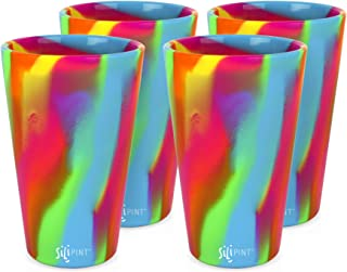 Silipint Silicone Pint Glass Set, Patented, BPA-Free, Shatter-proof, Unbreakable Silicone Cup Drinkware (4-Pack Hippy Hop)