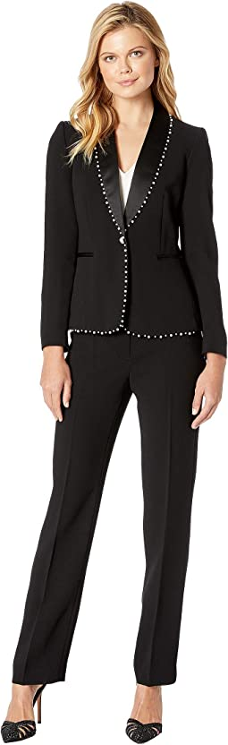 Shawl Collar One-Button Pearl Trimmed Besom Pocket Pants Suit