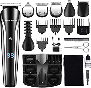 Beard Trimmer for Men, MIGICSHOW Cordless Hair Trimmer 11 in 1 Mustache Trimmer Hair Clippers Waterproof Multi-functional Grooming Kit for Nose Ear Body Groomer with LED Display USB Rechargeable