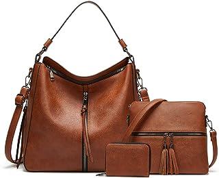 Hobo Handbags for Women Large PU Leather Shoulder Bag Set Card Wallet Crossbody bag 3pcs