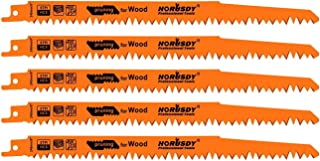 HORUSDY 9-Inch Wood Pruning Reciprocating Saw Blades, 5TPI Sawzall Saw Blades - 5 Pack