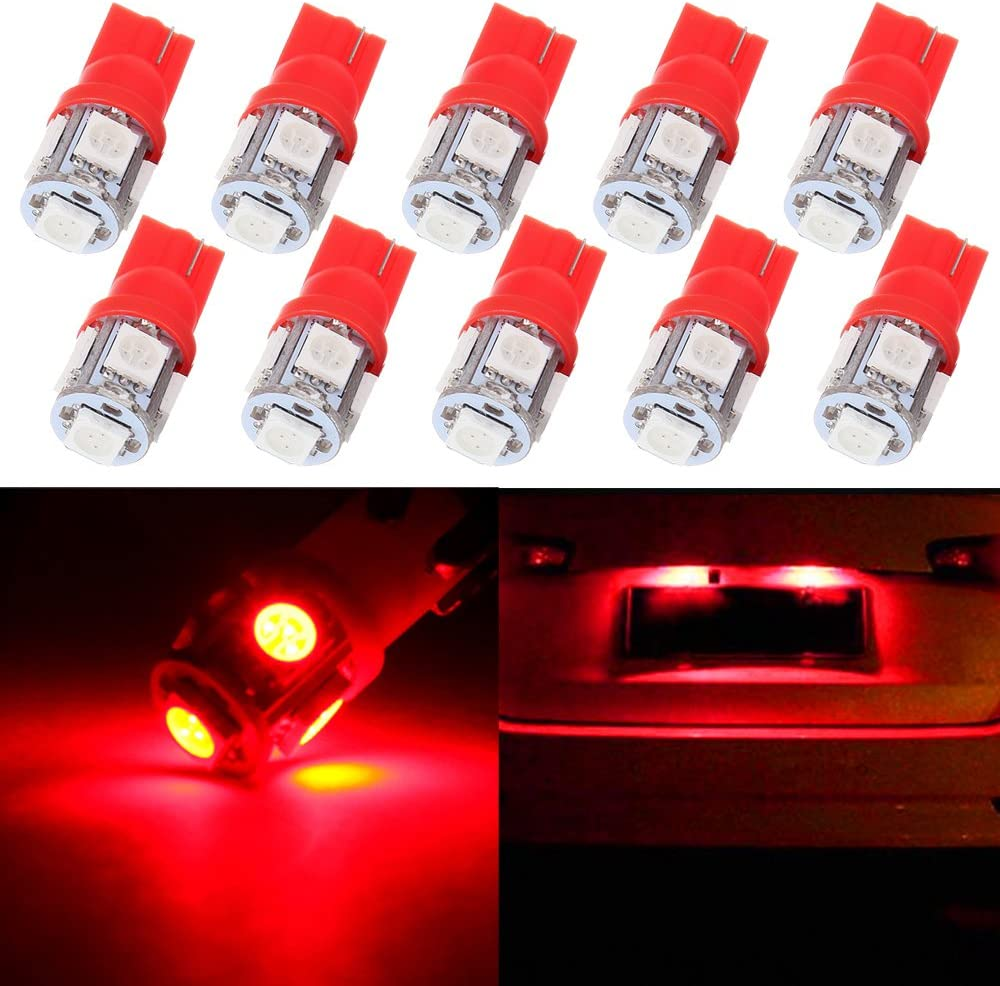 License Plate Lights It is very popular cciyu Red 5-5050-SMD Now on sale 194 W5W T10 Wedge 168