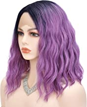 GG Ombre Purple Lace Front Wig for Women Short Wavy Purple Curly Wigs Black Roots Water Wave Ombre Purple Wig Daily Synthetic Lace Front Daily Makeup Party Wig (12 Inch Ombre Purple)