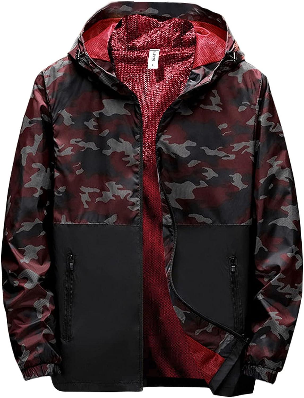 Men's Lightweight Jackets Big and Tall Camo Color Block Printed Waterproof Raincoat with Hood Windbreaker Raincoat