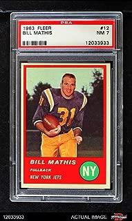 1963 Fleer # 12 Bill Mathis New York Jets (Football Card) PSA 7 - NM Jets Clemson