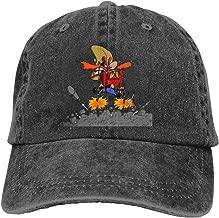 LUCY FOSTER Looney Tunes Yosemite Sam Adjustable Breathable Cotton Washed Denim Cap Hat Black