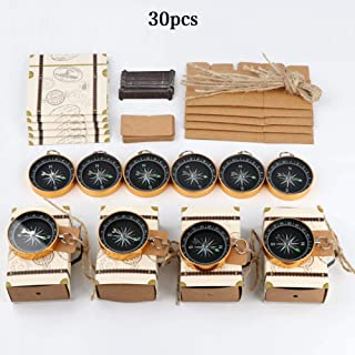 Aytai 30pcs Compass Wedding Favors + 30pcs Suitcase Favor Boxes, Wedding Gifts for Guest Travel Themed Party Decorations Nautical Wedding Bridal Shower Supplies