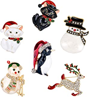 Danbihuabi 6 pcs Christmas Brooch Rhinestone Brooches Pins Set- Christmas Jewelry Gifts Brooch for Girl