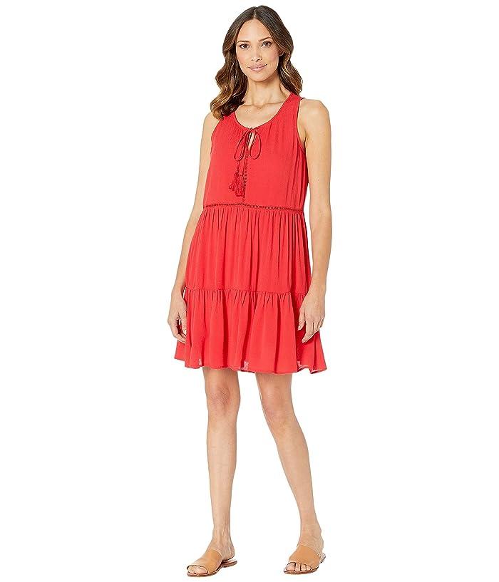 Wrangler Tiered Skirt Dress in Red