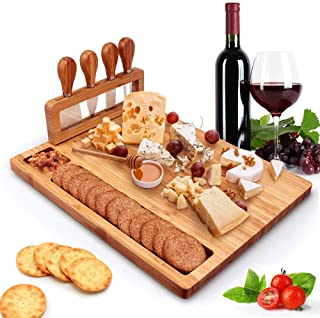 Tuevob Cheese Board Meat Charcuterie Platter Serving Tray W/ 4 Tableware Stainless Steel Knife, Home Kitchen Food Server P...