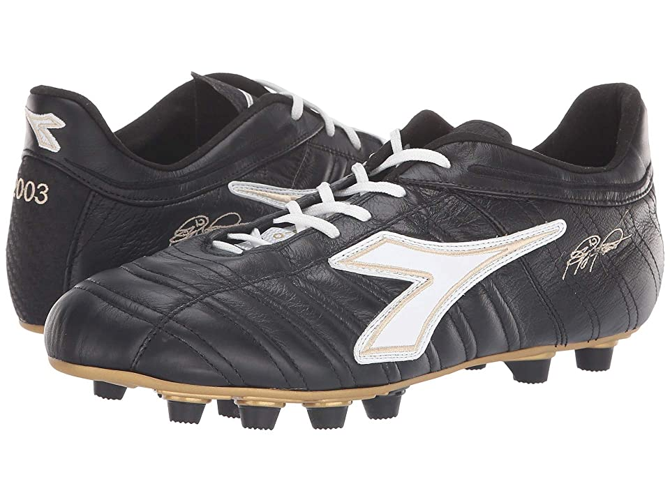 Diadora Baggio 03 Italy OG MD PU (Black/White/Gold) Soccer Shoes