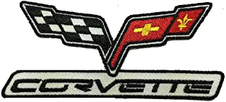 Corvette Racing Flags Sports Cars Embroidered Iron on Sew on 4 inch Patch